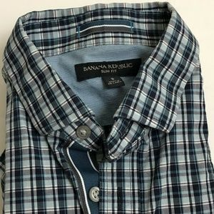 Banana Republic Plaid Shirt Small Slim Fit Blue
